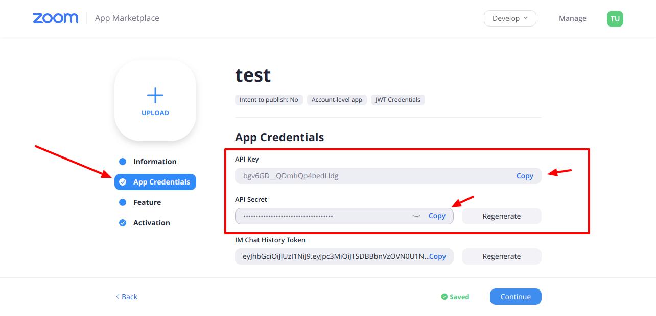 WordPress Zoom addon API Keys step5