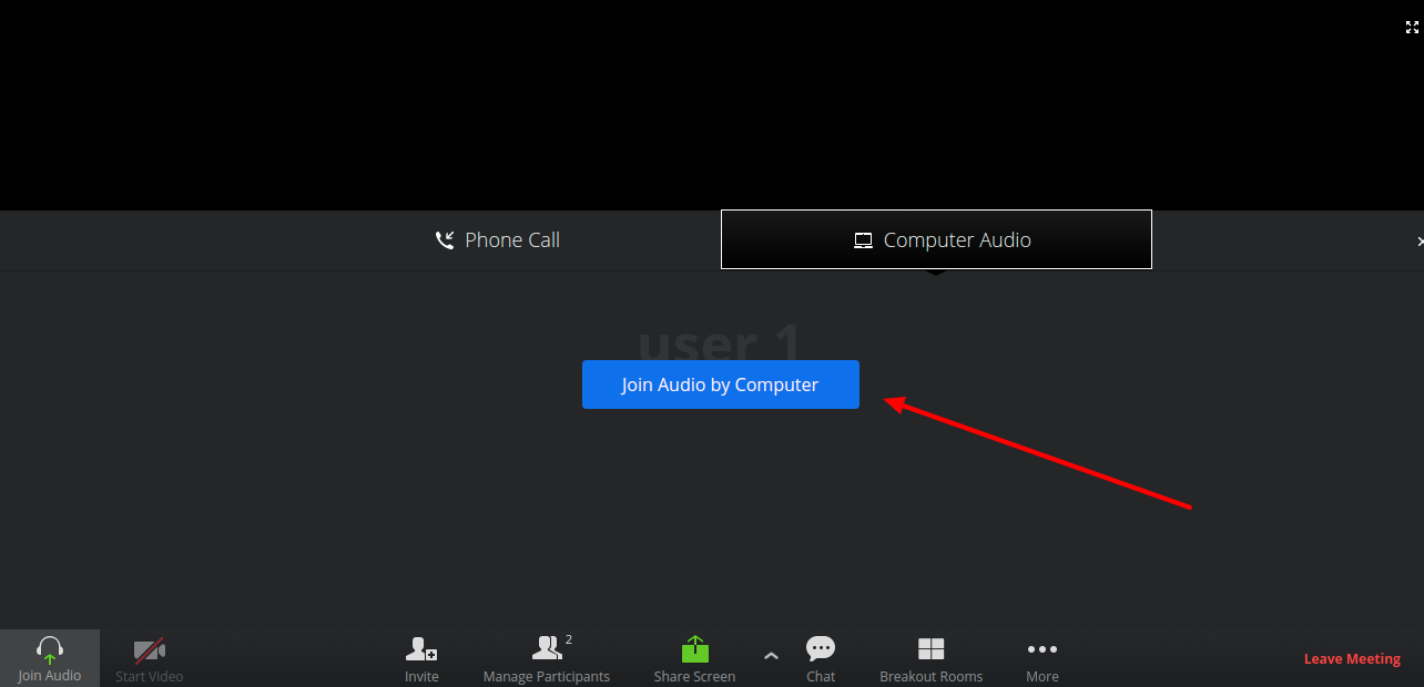 Join audio by computer in Zoom