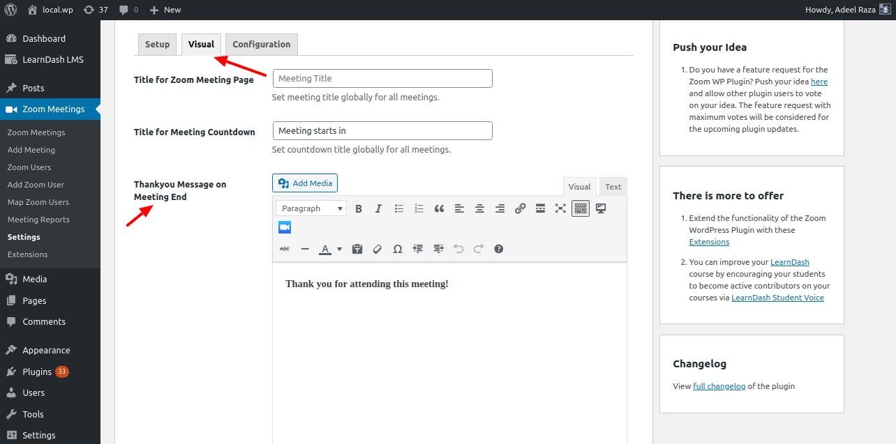 Zoom WordPress Plugin Thankyou Message