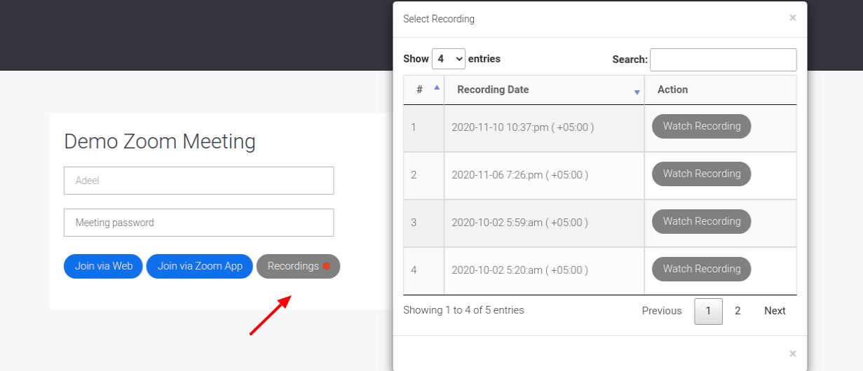 Zoom Cloud Recordings on Meeting Page