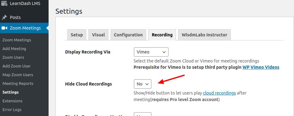 Zoom WP plugin hide recording