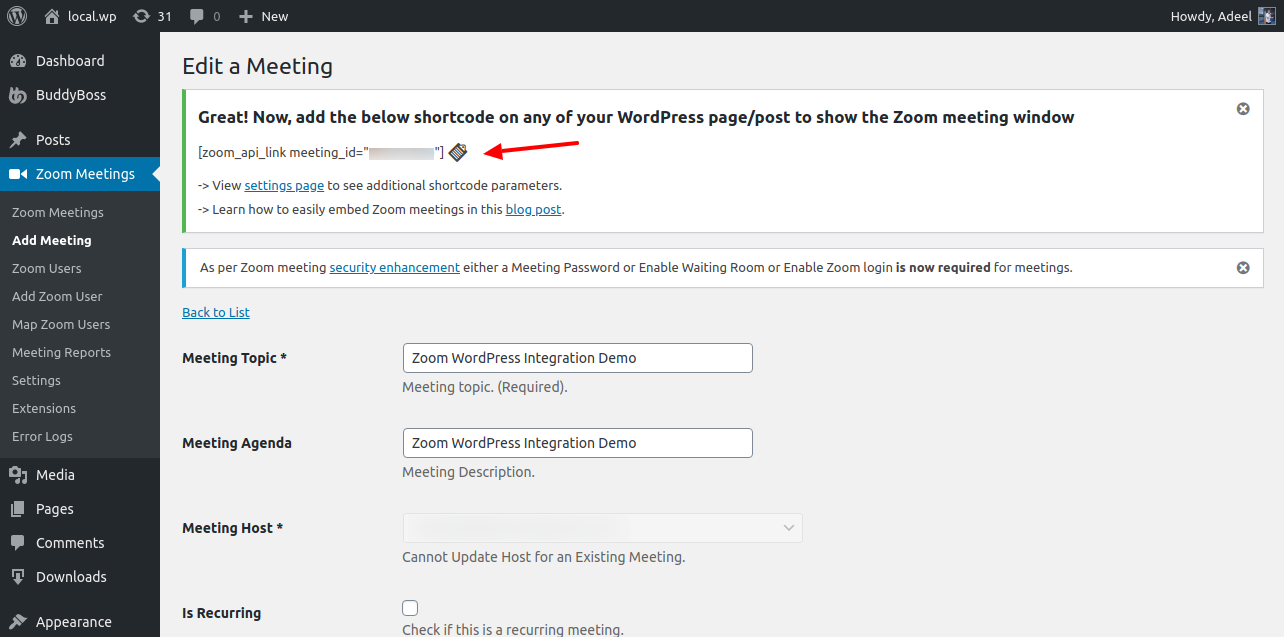 Zoom WordPress Plugin Meeting Shortcode