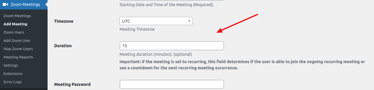 Zoom WP Meeting duration