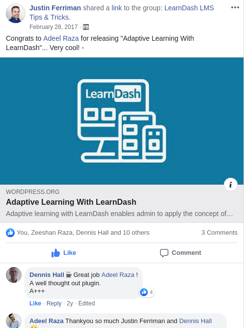 Justin Feriman comment on Adaptive Learning with LearnDash