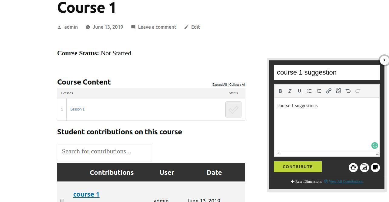 Student voice course feedback button