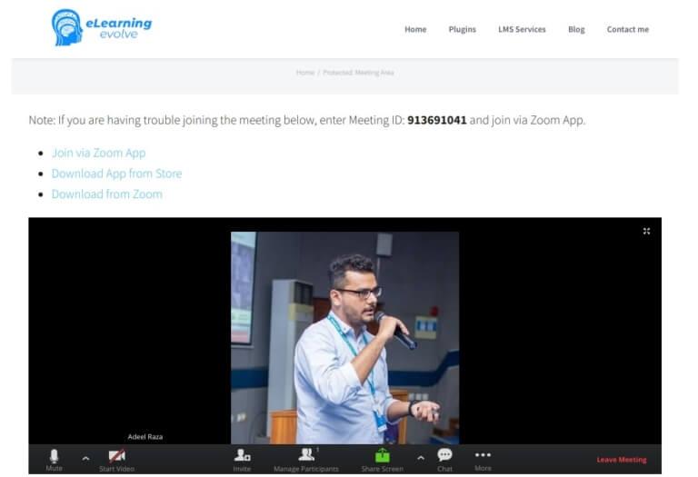 Zoom video conference on Desktop