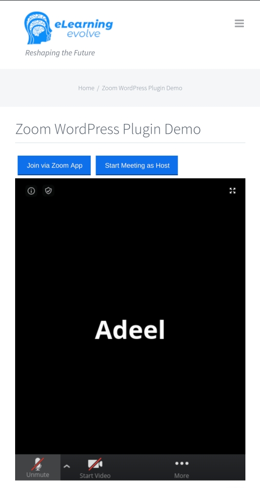 Zoom WordPress Plugin Mobile view
