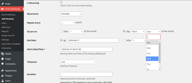 Zoom recurring meeting in Zoom WordPress Plugin